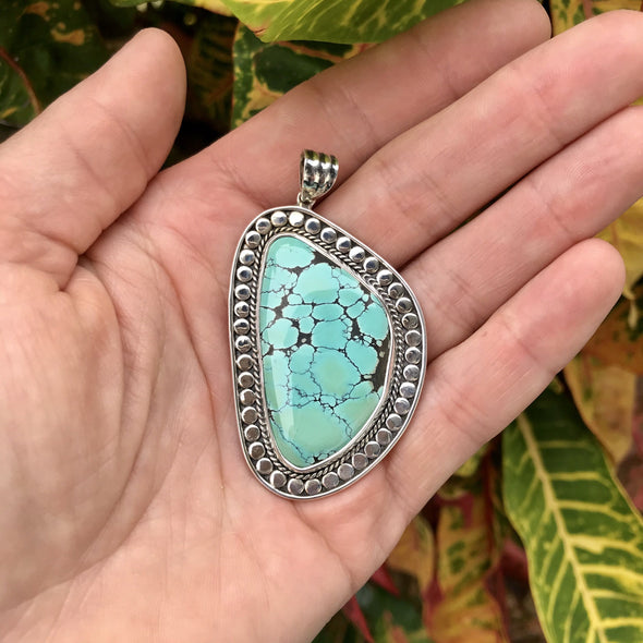Nepalese Turquoise Embellished Sterling Silver Pendant