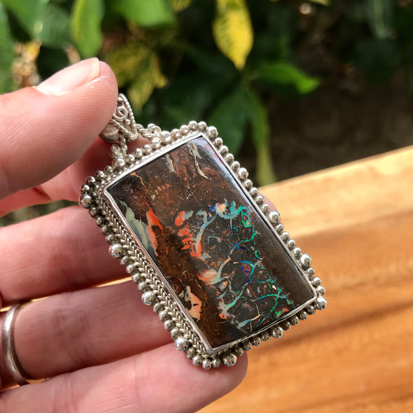 Asymmetrical Rectangle Boulder Opal Sterling Silver Pendant