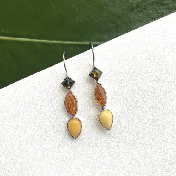 Multi Stone Baltic Amber Earrings