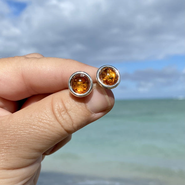 Baltic Amber Button Post Earrings- BAER23