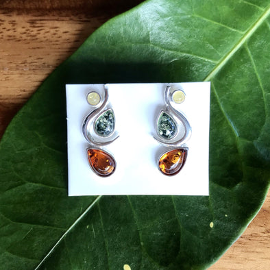 Tri-color Unique 3 Gem Baltic Amber Earrings