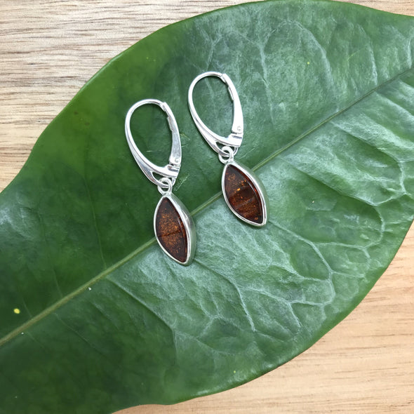Deep Cognac Baltic Amber Earrings- BAER20
