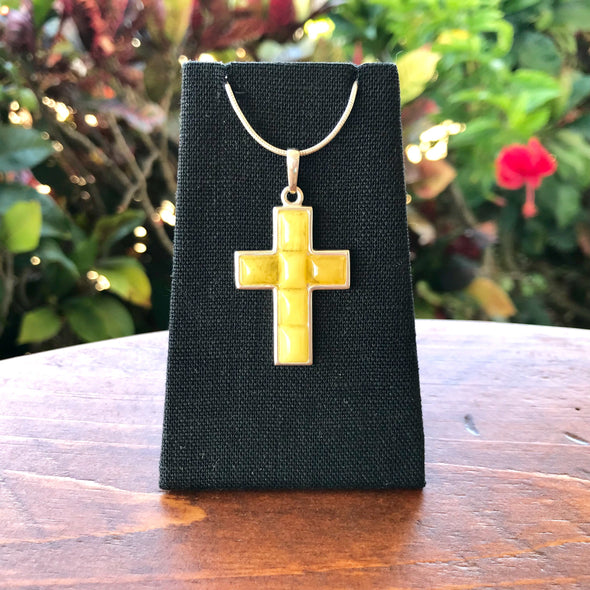 Baltic Milky Amber Cross Pendant