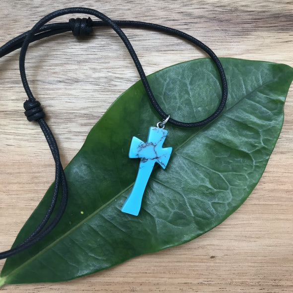 Turquoise Composite Hand Carved Cross