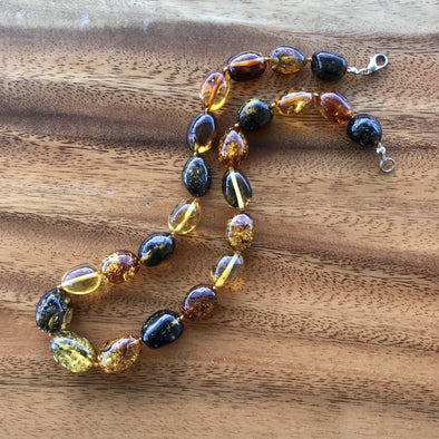 "16"" Multicolored Beaded Baltic Amber Necklace. BANL03"