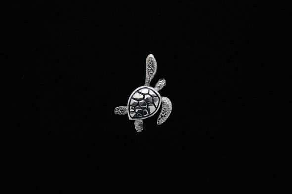 Detailed Sterling Silver Sea Turtle with Enamel Accent