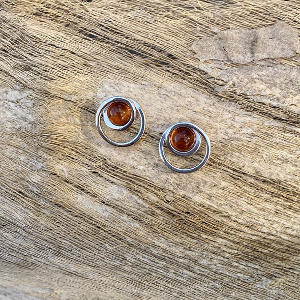Modern Style Baltic Amber Post Earrings- BAER25
