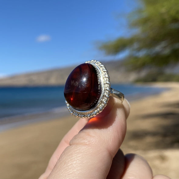 Cherry Amber Ring- Size 8- BAR10