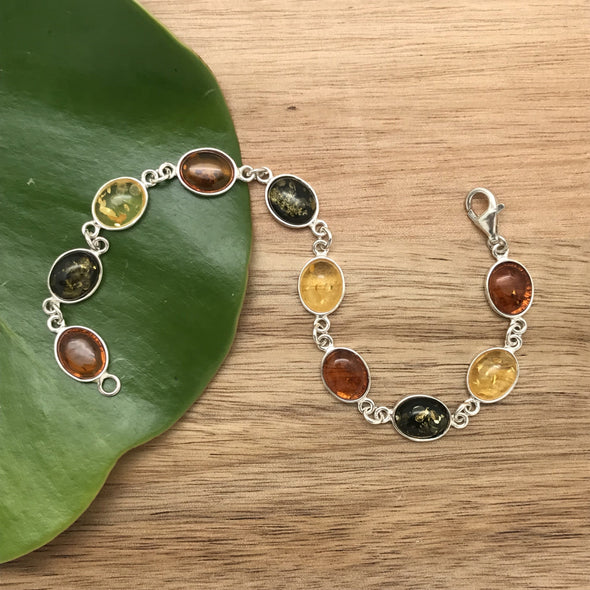 Bracelet, amber, silver, sterling silver, Baltic amber,