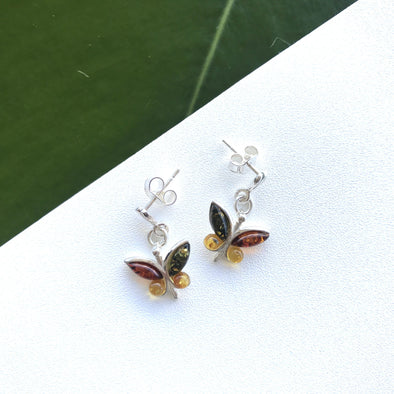Baltic amber, sterling silver, earrings, butterfly, amber, butterfly earrings, post earrings