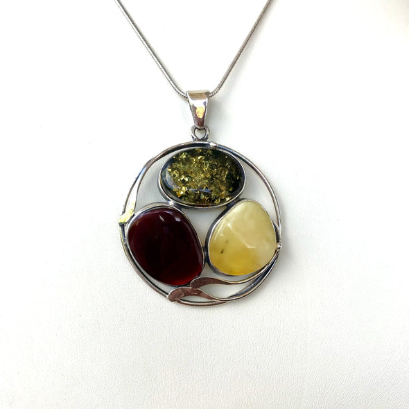 Round Multi Colored Amber Pendant