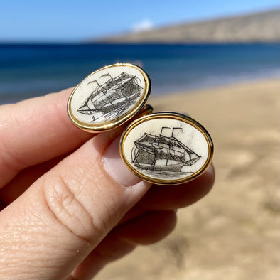 Scrimshaw Cuff Links