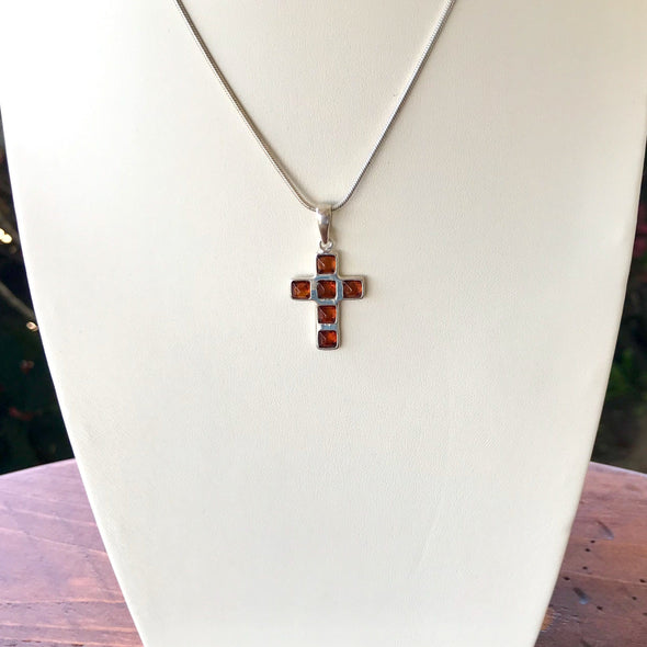 Small Baltic Amber Cross Pendant