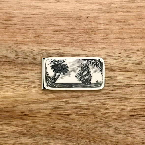 Scrimshaw Style Wide Money Clip with ship and palm tree detail designed by artist Linda Layden