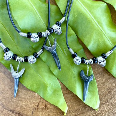 Shark Tooth and Skulls Necklace