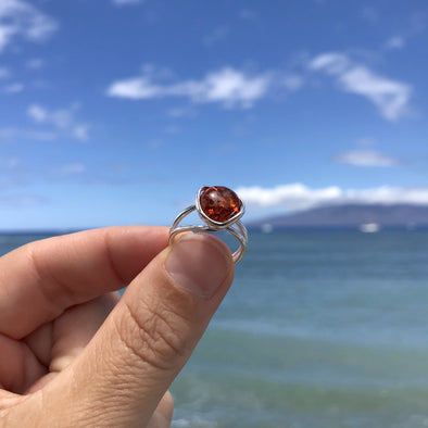 Baltic Amber Adjustable Ring- Style 7 - 7R