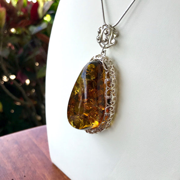 Large Baltic Amber Filigree Pendant