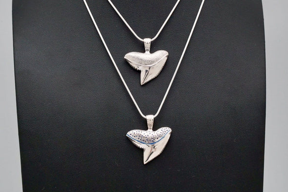 2 Sterling Silver Tiger Shark tooth Pendants on sterling silver chains by Maui artist BlueJah