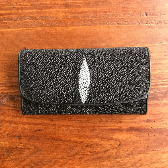 Stingray leather clutch wallet, Ladies wallet, Black stingray leather