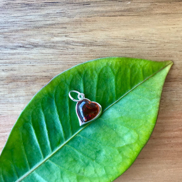 Small Baltic Amber Heart Pendant