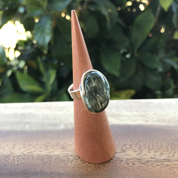 Seraphinite Sterling Silver Adjustable Ring