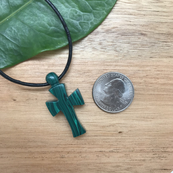 Malachite Composite Hand Carved Cross