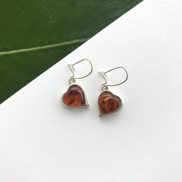 Baltic Amber Heart Earrings