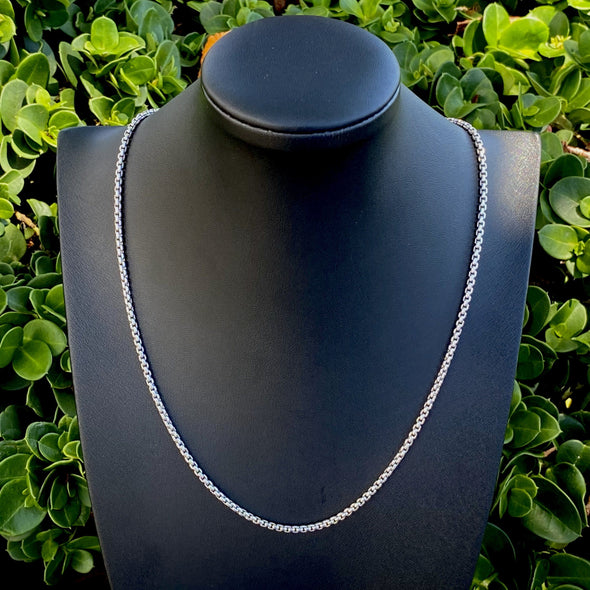 2.5mm Sterling Silver Smooth Round Box Chain