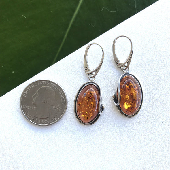 Oval Baltic Amber Earrings with Silver Detail