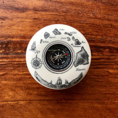 Scrimshaw Style Compass Paperweight