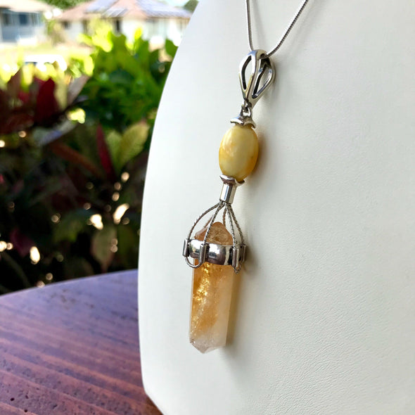 Amber and Crystal Pendulum Pendant
