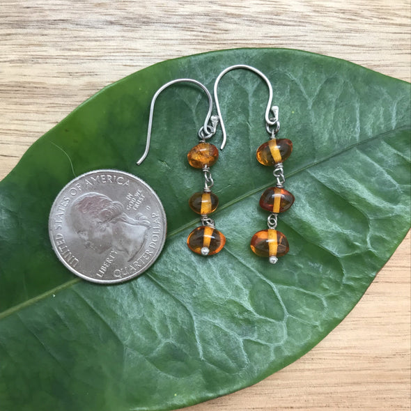 Baltic Amber Dangle Earrings- BAER14