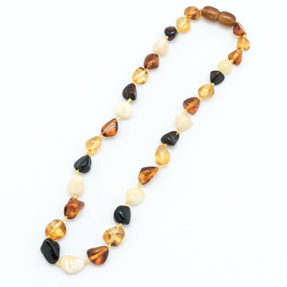 "Multicolored 13"" Baltic Amber Baby Bead Necklace"