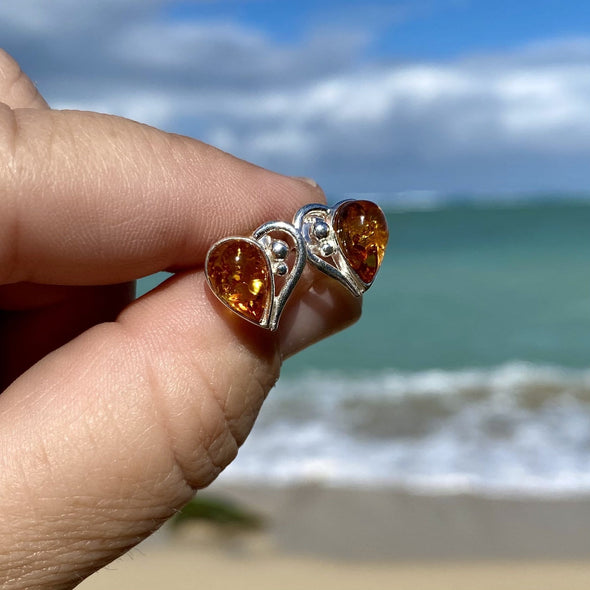 Baltic Amber Heart Earrings- BAER35