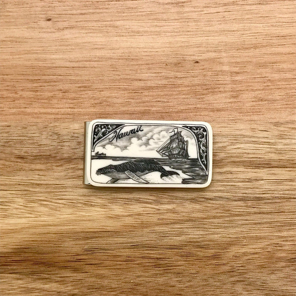 Scrimshaw Style Wide Money Clip with humpback whale and ship detail designed by artist Linda Layden