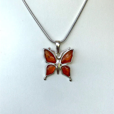 Small Baltic Amber Butterfly Pendant