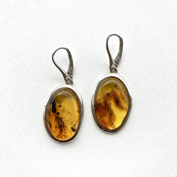 Large Oval Baltic Amber Earrings