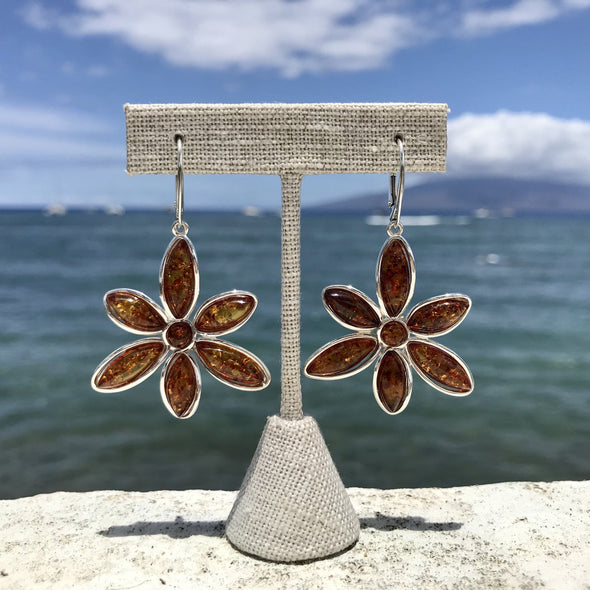 Funky Floral Baltic Amber Earrings- Style 17