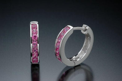 18k white gold and pink sapphire earrings