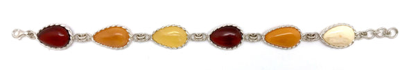 "Beautiful teardrop Baltic Amber bracelet.  Alternating colors of amber are framed in 925 Sterling silver.  This bracelet measures 9""-9.5"" and secures with a lobster claw style clasp."