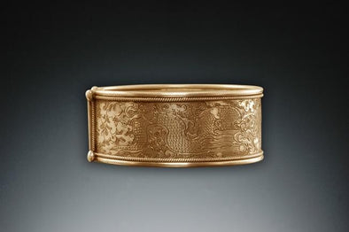 Side view of twin Fish Cuff Bracelet 24k Gold Vermeil - small
