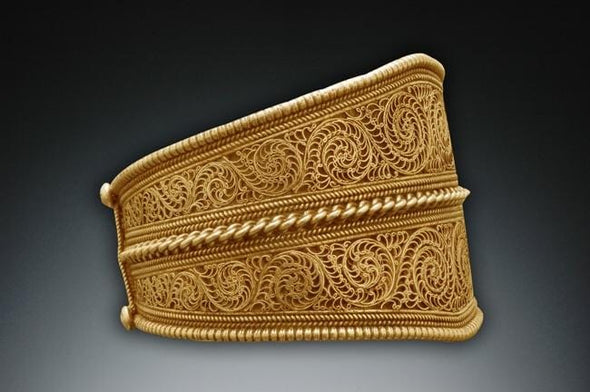 Large Nepalese Filigree Cuff Bracelet - 24K Gold Vermeil, side view