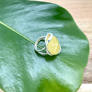 Milky Amber Adjustable Ring