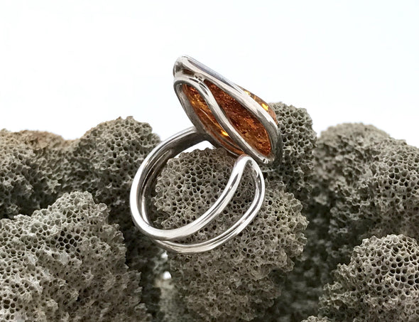 Baltic amber ring. Sterling silver. Adjustable size.