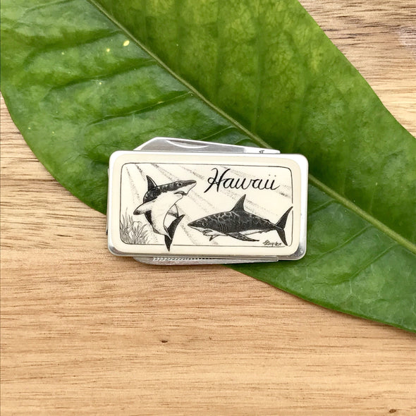 Scrimshaw Style Money Clip with Knife and File