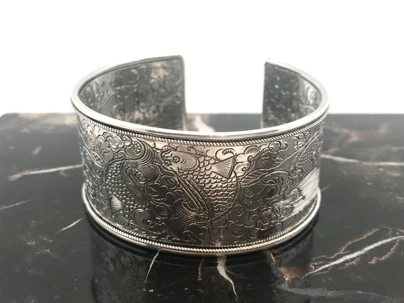 Nepalese Medium Twin Fish stamped Silver Cuff Bracelet