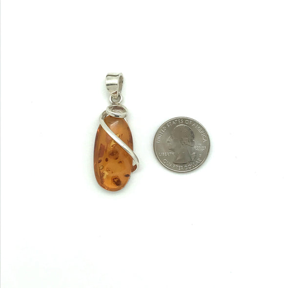 Baltic Amber Pendant with Flourish- BAP012