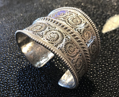 Large Nepalese Filigree Cuff Bracelet - Silver - BMT-FIL