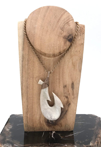 "2 3/8"" Maui Fish Hook hand carved from moose antler by artist Ray Peters."