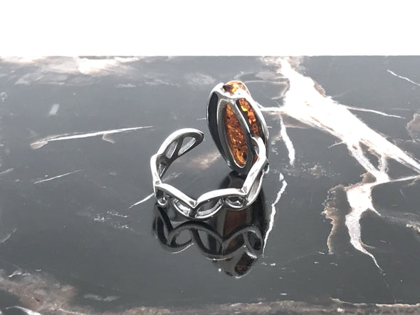 Baltic Amber Silver Ring - Adjustable